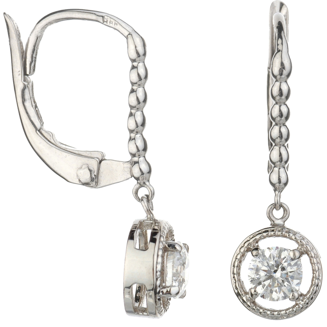 14k White Gold 1 2 Ctw Diamond Dangle Earrings