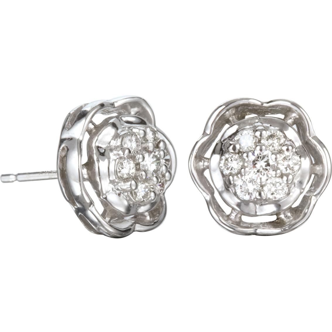 10k White Gold 1 3 Ctw Diamond Cluster Earrings