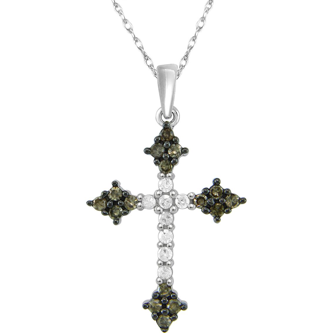 10k White Gold 1 4 Ctw Champagne Diamond Cross Pendant