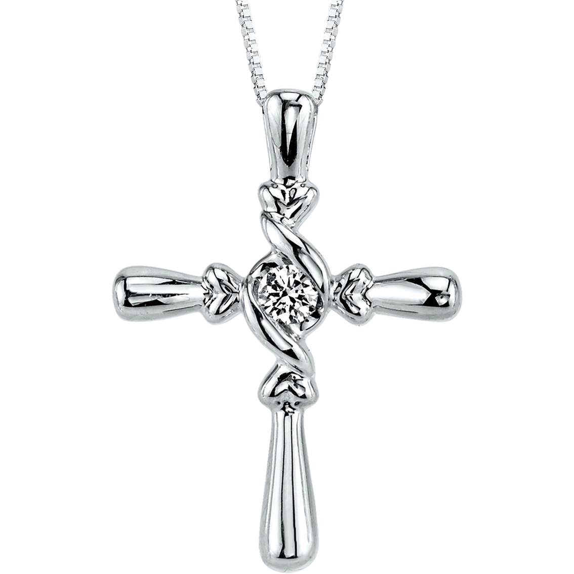 Sirena 14k White Gold 1 10 Ctw Diamond Cross Pendant
