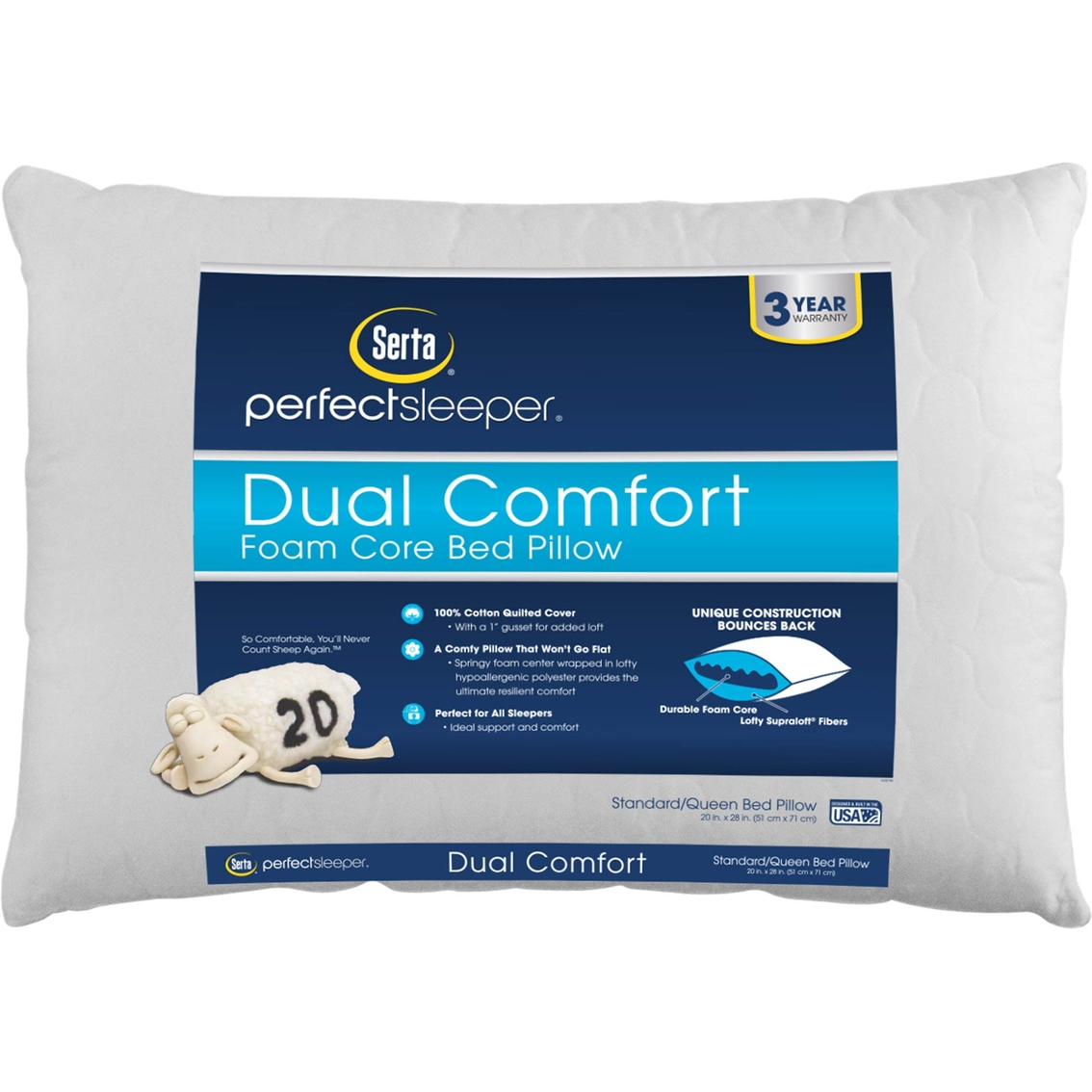 serta perfect sleeper dual comfort foam core bed pillow