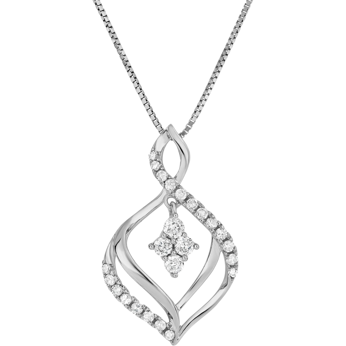 Adorne 10k White Gold 1 4 Ctw Diamond Flame Shape Pendant