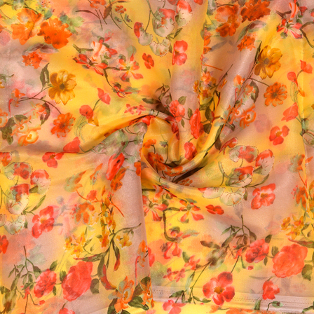 Buy Yellow Red And Green Floral Design Silk Organza Fabric