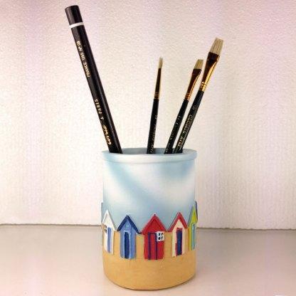 Bright Beach Hut Pen Pots