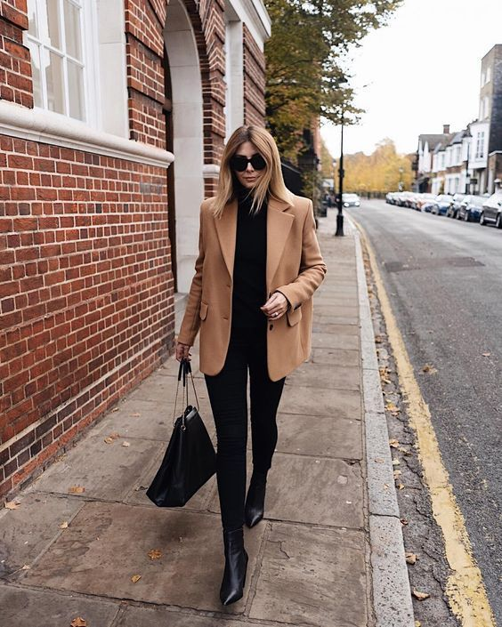 All black with neutrals outfit