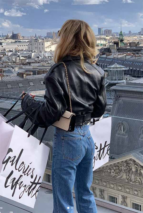 French Style capsule wardrobe essentials leather jacket
