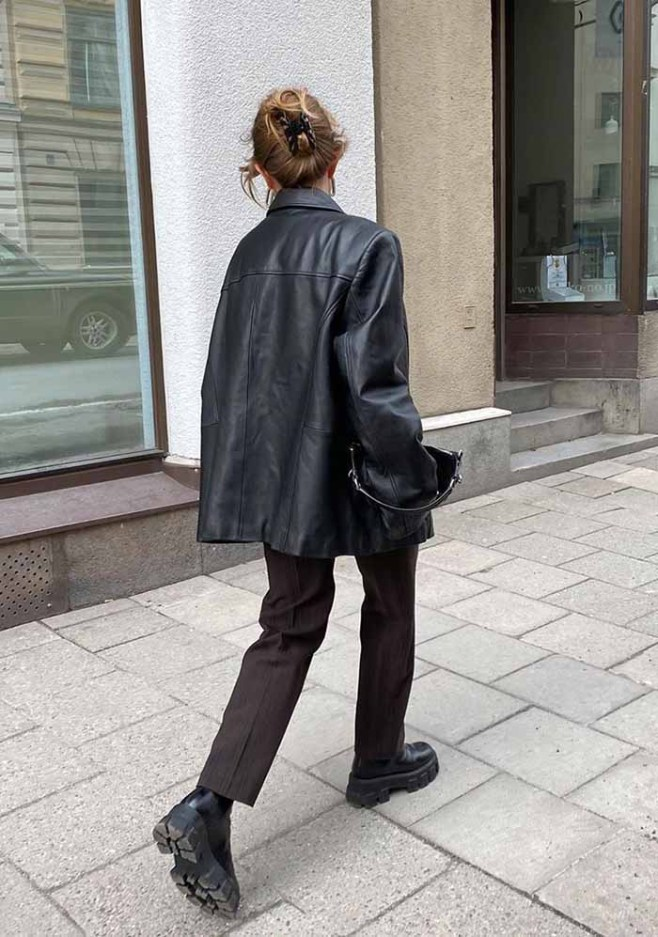 Leather blazer trend outfit