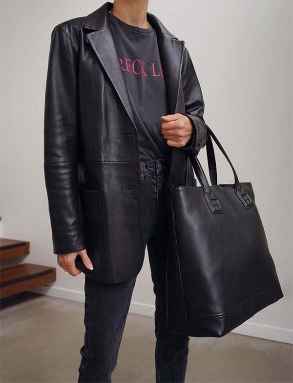 Leather blazer trend