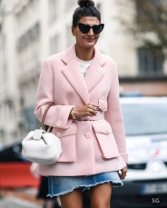 Soft pink jacket outfit