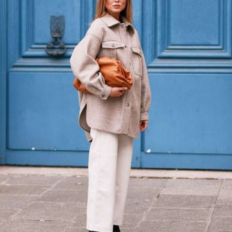 Shackets trend street style outfit