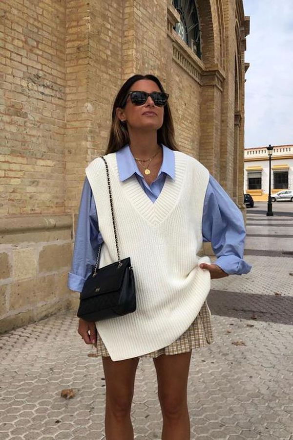 Sweater vest trend outfit inspiratie