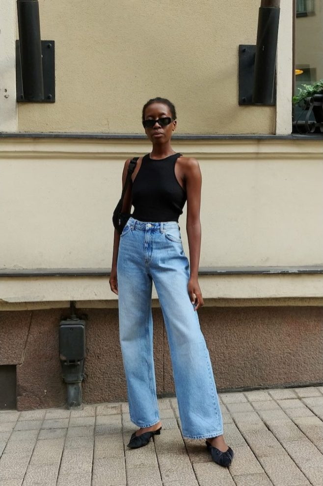 Wide leg jeans outfit how to wear