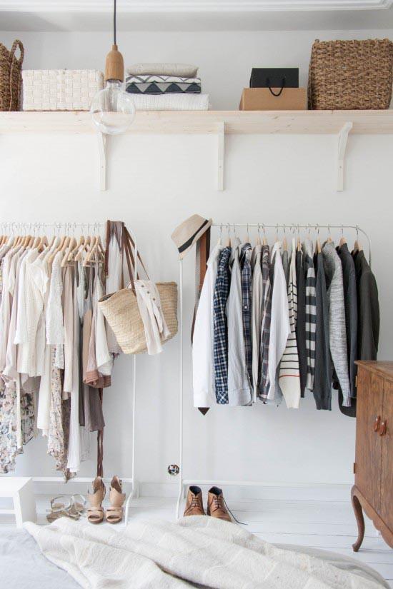 Walk-in closet kledingrek