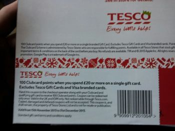 Gift card coupon