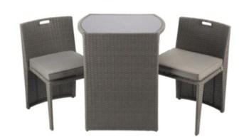 Cube Bistro Garden Furniture Set, Taupe