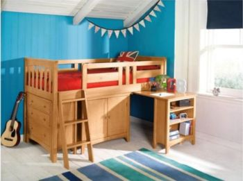 Harvey Sleep Station Left Hand Ladder, Natural Pine Oak Stain clubcard boost