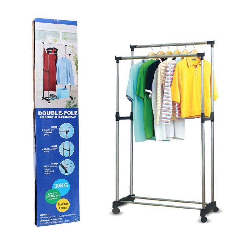 double pole cloth rack silver black