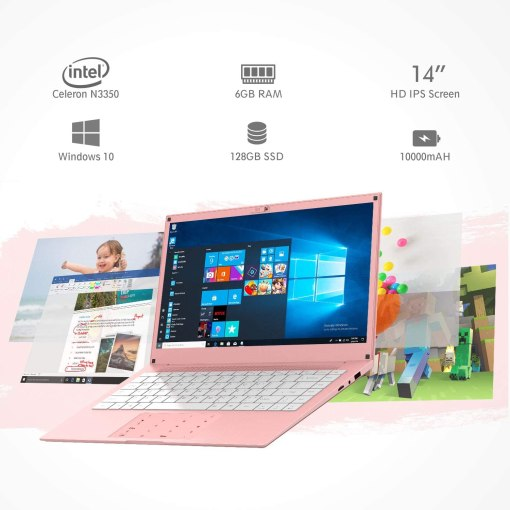 Laptop Computer 14 inch Windows 10 Notebook PC - HAOQIN HaoBook140 Intel Celeron N3350 6GB DDR RAM 128GB SSD HD IPS Display 5.0GHz WiFi Bluetooth 4.2 HDMI Pink