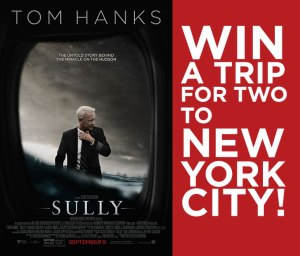 Poster with Sully movie and red background with white text saying win a trip to new york city