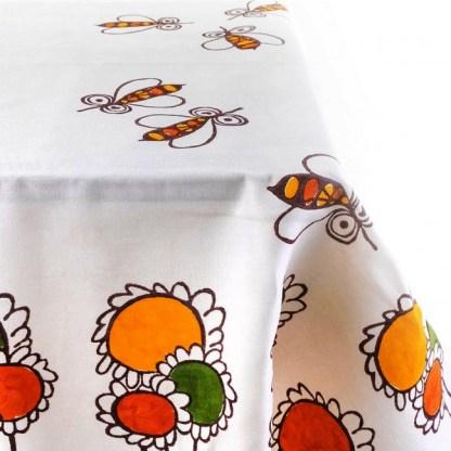 Tovaglia Pascucci con girasoli e api di Gianfranco Zavalloni + 6 tovaglioli
