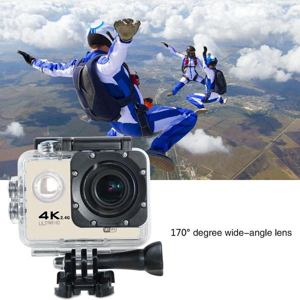 (DS)DC F60R 6 - Caméra Action Ultra HD 4K Sports Wifi + Accessoires + Trépied  - Gold