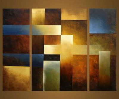 Gold Bars Modern Canvas Art Wall Decor Abstract Oil Painting With Stretched