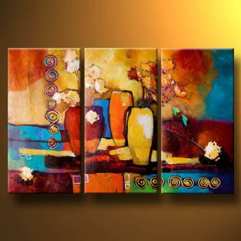 3 pcs Abstract Canvas Art   Cheap Oil Paintings Paintings for sale     Composition With Flowers Modern Oil Painting Canvas Wall Art with Stretched  Frame Ready to Hang