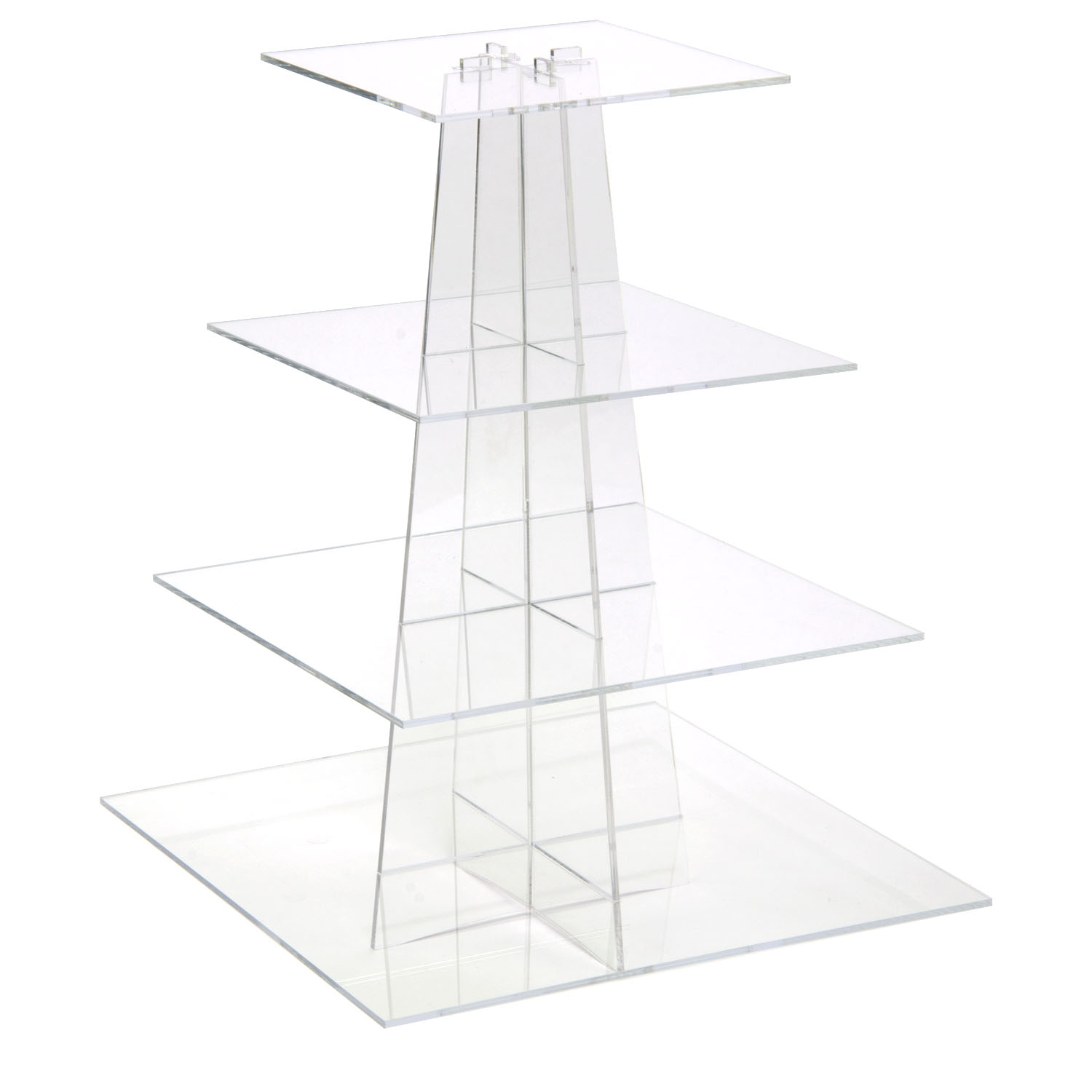 Clear 4 Tier Square Cupcake Display