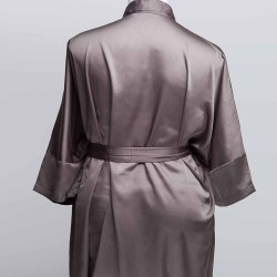 Sablier Plush Pewter Short Robe, Back View