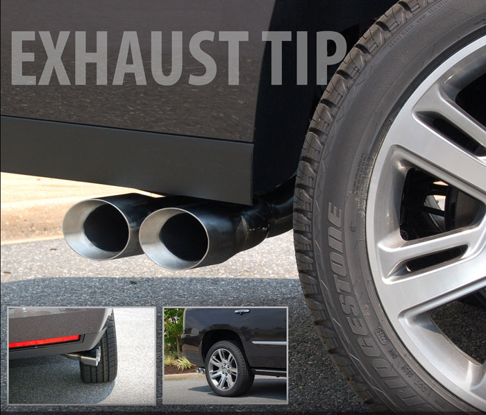 gmc yukon single to dual outlet exhaust tip by e g classics 2015 2020