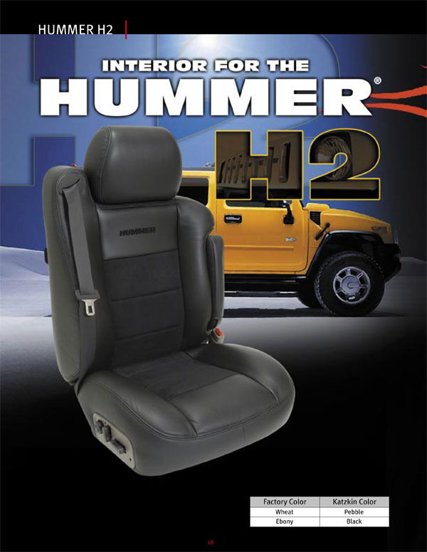 Hummer H2 Katzkin Leather Seat Upholstery without third