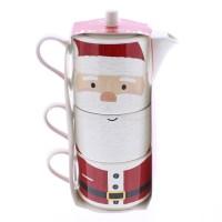 Noel Santa Stacking Teapot & Mug Set Microwave & Dishwasher Safe. 1 Teapot 2 Mugs
