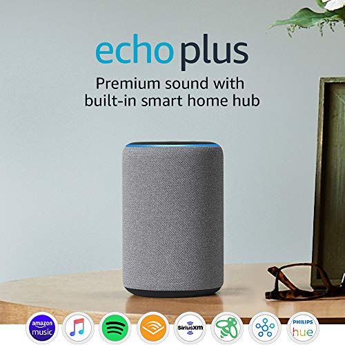 Echo Plus (2nd Gen) – Premium sound with built-in smart home hub – Heather Gray