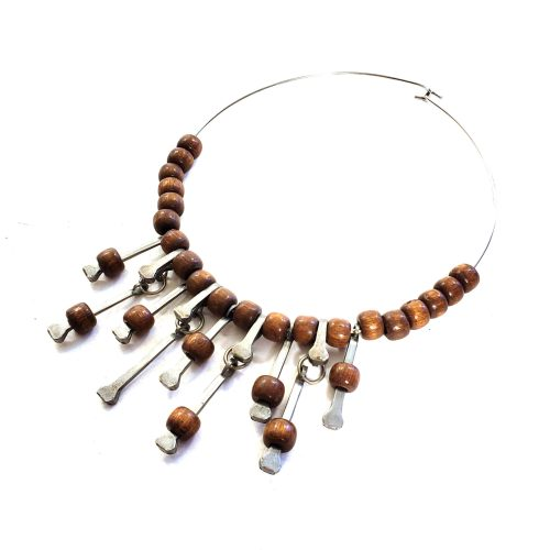 70s Modernist Wood Bead Choker