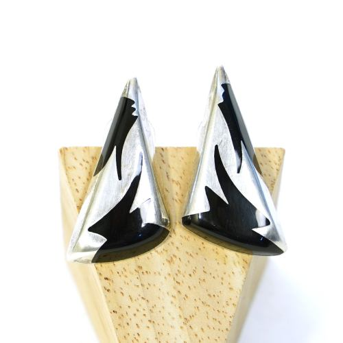 Mexican Sterling Silver & Onyx Triangle Earrings for Pierced Ears Vintage 80s