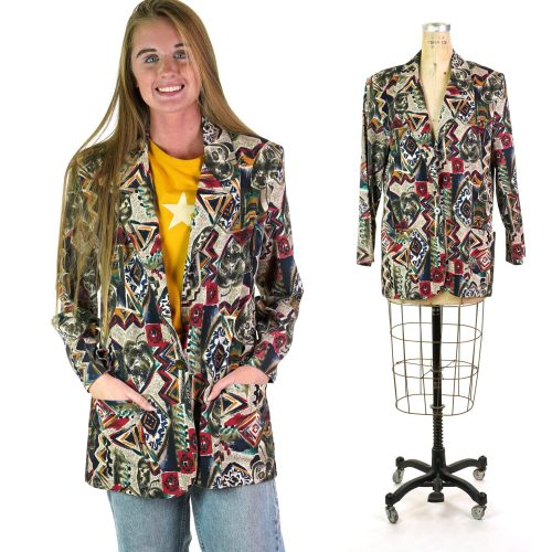 Abstract Print Rayon Blazer