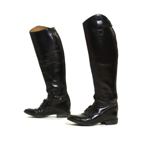 Classic Black Leather English Riding Boots Size 7.5