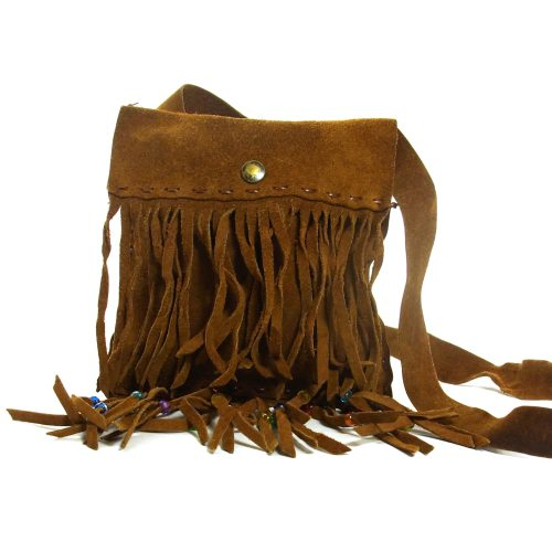 Fringed Brown Suede Boho Purse
