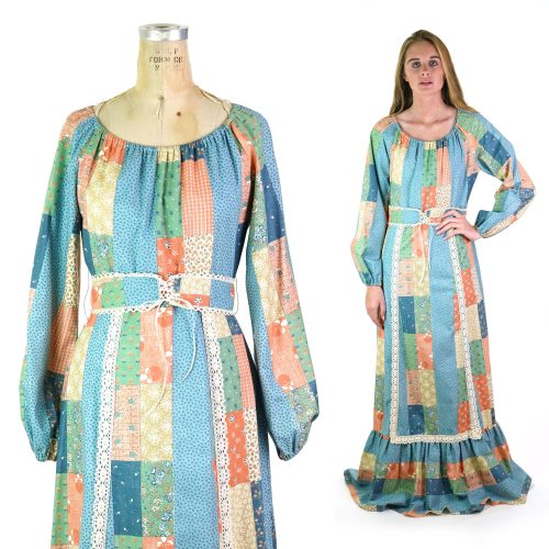 Vintage 70s Gunne Sax Inspired Boho Patchwork Maxi Dress Size Medium