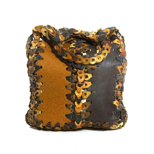 Leather Link Hobo Bag Vintage 70s Handmade