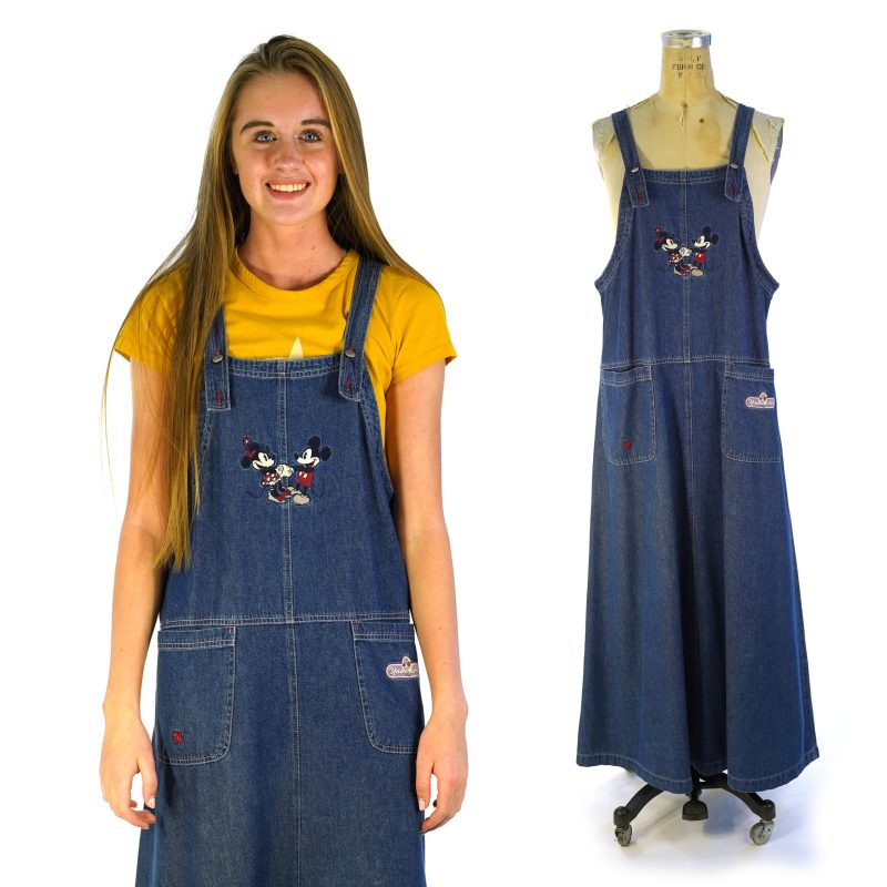Maxi Length Denim Overalls Dress with Mickey and Minnie Mouse
