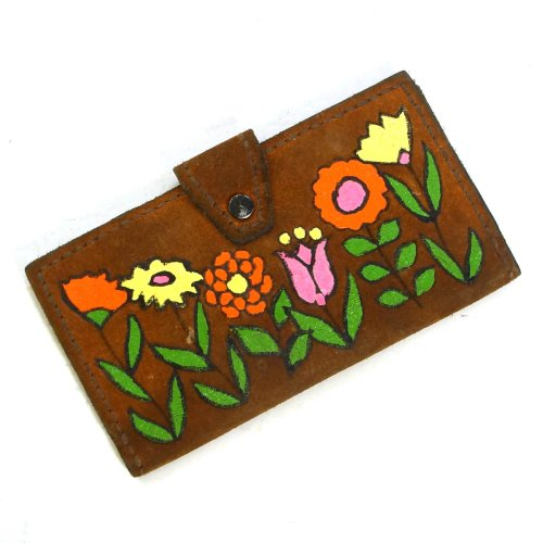 70s Handmade Painted Leather Hippie Wallet