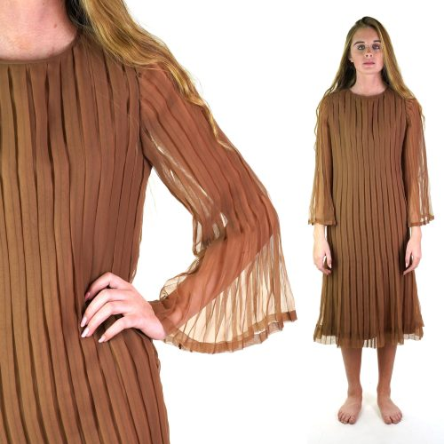 Pleated Mocha Cocktail Dress with Flared Trumpet Sleeves Size Medium Vintage 60s