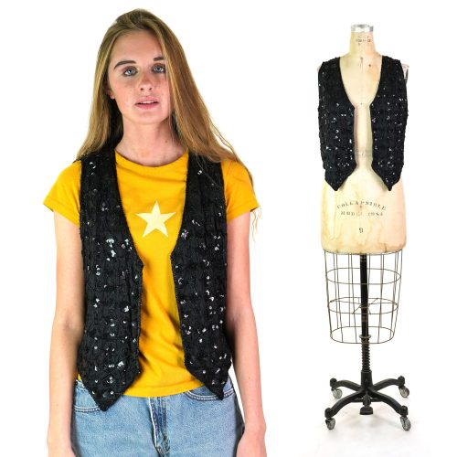 90s Glam Rock Sequin Vest Medium
