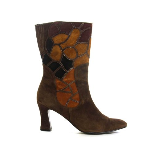 Brown Suede Patchwork 80s Ankle Boots