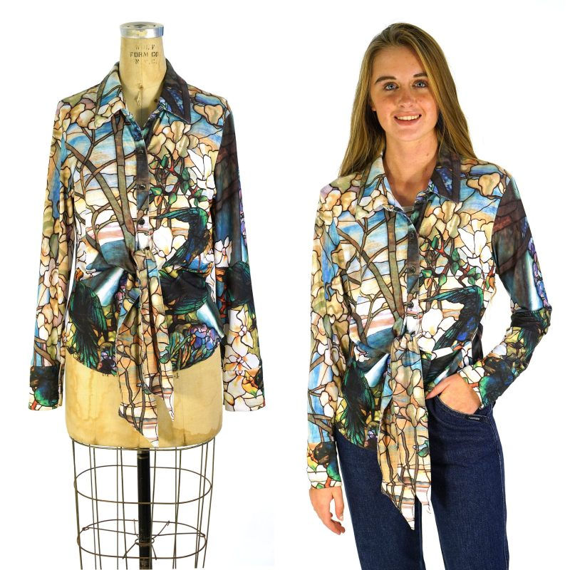 Stained Glass Button Up Blouse with Tie