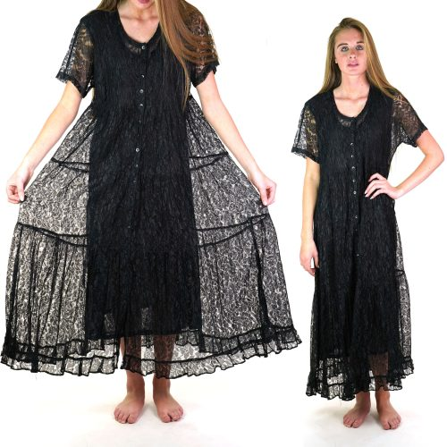 Black Lace Grunge Maxi Dress Medium