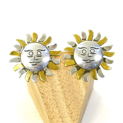 Taxco Sterling Silver Oversized Sun Earrings