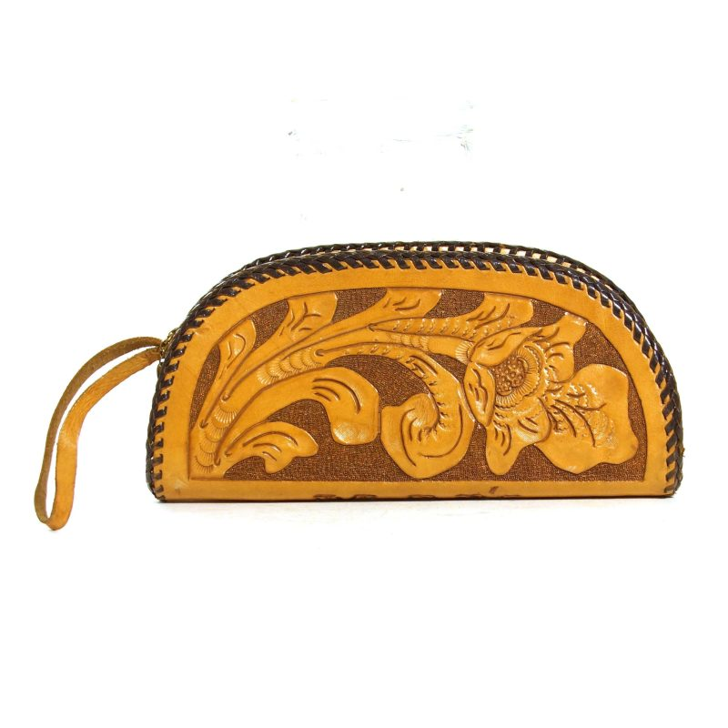 Handmade Tooled Leather Clutch Bag Vintage 70s