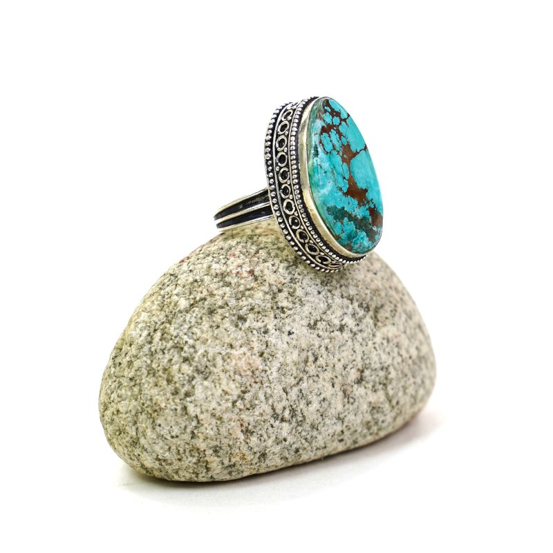 Vintage Indian Turquoise and Sterling Silver Statement Ring